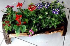 decorative handmade oakwood jardeniere-flowerpot