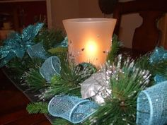 #Blue #Christmas centerpiece