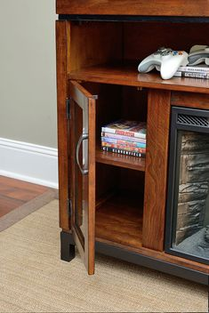 <3 Harper Infrared Electric Fireplace Entertainment Center in Birch <3
