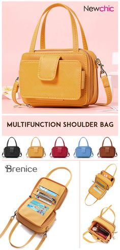 Brenice Women Square Card Holder Phone Bag Multi-layer Crossbody Bag is designer, see other cute bags on NewChic. Leather Crossbody Bag, Clutch Bag, Pu Leather, Square Card, Coin Bag, Cute Bags, Missoni, Look Fashion, Fashion Bags