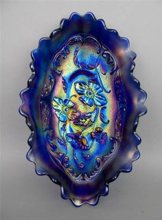 "POPPY by NORTHWOOD ~ SCRUMPTIOUS BLUE CARNIVAL GLASS RUFFLED 8-1/2"" PICKLE DISH"