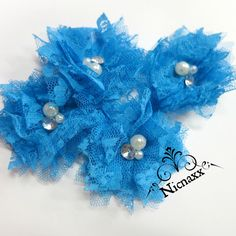 Items similar to Frozen Inspired DIY Flowers - Beautiful Turquoise Blue Lace Tulle Mesh flowers with Rhinestones and Pearls - Unique - Tulle folded flowers on Etsy Hanukkah, Blue, Etsy, Decor, Head Bands, Decoration, Dekoration, Inredning, Interior Decorating