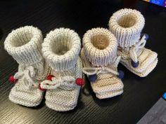 Babyschuhe LIESELOTTE für Neugeborene Material: 50 g LANA GROSSA Cool Wool, Nadelspiel Nr. 2,5 Bündchenmuster: 1 M re, 1 M...