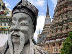 A royal statue on the grounds of Wat Pho temple in Bangkok.