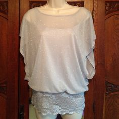 ✨Beautiful Shimmer and Lace Top✨ This top is so lovely.  It is silver with some shimmer...perfect for a night out.  It also has an attached cami for perfect coverage. Studio Y from Maurice's. Maurice's Tops
