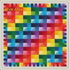 Cross Stitch Pattern Abstract Geometric Rainbow Polygonal Counted Cross Stitch Pattern / Instant Download Epattern PDF File