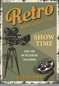 Vintage colorful cinema poster with movie camera a