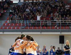 Junior women of Serbia celebrating their victory against Romania in Vrnjačka Banja.