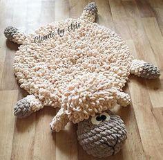 Crochet mat Pattern The lamb mat gift idea image 5 Crochet Mat, Crochet Home, Big Knit Blanket, Knitted Blankets, Yarn Projects, Crochet Projects, Arm Crocheting, Finger Crochet, Animal Rug