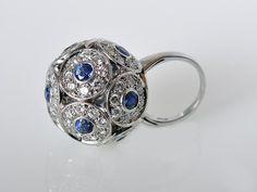 Jewelry: Rings Salavetti Brilliant 18K White Gold Diamond Sapphire Ball Ring, Philadelphia PA US