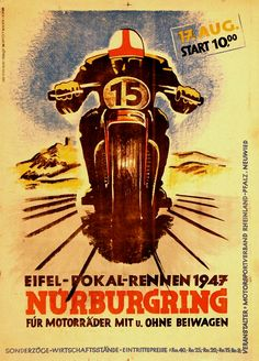 1947 German Motorcycle Race | Eifel - Polak - Rennen | Nürburgring Circuit, Germany | International Grand Prix Motorcycle Racing | Classic Retro Vintage Race Sticker, Program, Poster