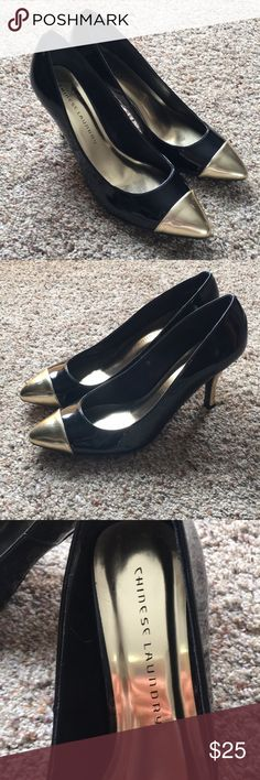 Chinese Laundry Black and Gold Heels Size 9.5 Never worn black and gold Chinese Laundry Heels Size 9.5 Chinese Laundry Shoes Heels