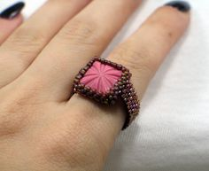 Square Peyote Stitch Beaded Ring Vintage Pink Glass