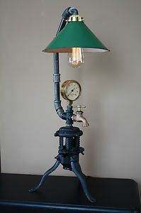Vintage Industrial Steampunk Lamp Cast Iron Tree Stand Gauges | eBay