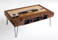 Den: believe it or not, this cassette coffee table is actually made of wood and glass. It makes me smile every time I see it and is perfect in our den with its retro music theme. Retro Coffee Tables, Coffee Table Design, Retro Table, Rattan Furniture, Furniture Design, Geek Furniture, Casa Loft, Stainless Steel Cups, American Walnut