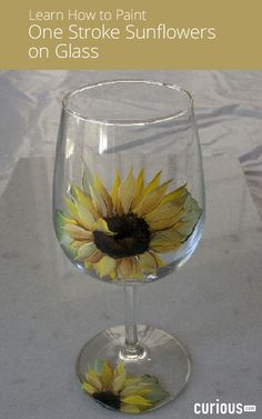 Learn how to paint on glass in this lesson, and paint a sunflower on a wineglass using the one stroke painting method. This makes a great DIY gift!