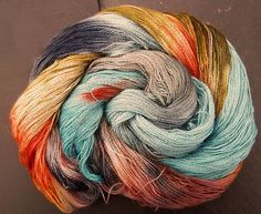 Yarn Alpaca Silk Lace 2ply Elvincraft s Hand Painted Dun Scathaich (Winter)