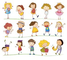 Illustration of Illustration of simple kids playing vector art, clipart and stock vectors. Kids Vector, Free Vector Art, Cute Doodle Art, Cartoon People, Cute Family, Banner Printing, Stick Figures, Cute Cards, Clipart
