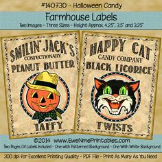 Farmhouse Labels - Halloween Candy