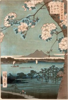 "Ukiyo-e - The landscape genre appeared in the fine art of Japan under the influence of Chinese art. The term sansui-ga, or ""pictures of mountains and waters"" was also borrowed from China, since the main constituent elements of Far-Eastern painting were mountains and waterways as symbols of the dualistic view of the world. The landscape genre in Japanese ukiyo-e prints only became a distinct art form at the end of the 18th century"