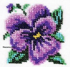 Fuse Bead Patterns, Bead Crochet Patterns, Beading Patterns, Simple Cross Stitch, Cross Stitch Rose, Cross Stitch Flowers, Cross Stitching, Cross Stitch Embroidery, Beaded Embroidery