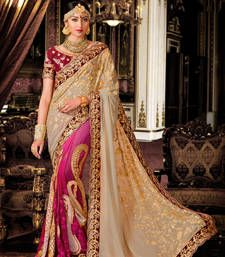 Buy Beige and Pink embroidered georgette saree With Blouse wedding-saree online