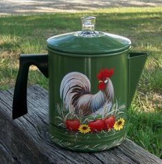 Vtg Aluminum Green Coffee Pot HP Rooster Red Apples Sunflowers Hand Painted | eBay