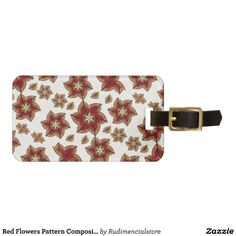 Red Flowers Pattern Composition Luggage Tag  artistic, floral, fabric, pattern, swirls, vibrant, creative, decorative, design, abstract, arabesque, background, digital, diversity, fantasy, growth, illustration, photo, manipulation, primitive, screen, saver, seamless, spiritual, symbol, symmetric, texture, tribal, uniqueness, wallpaper, wealth, stars, refined, luxury, flowers, soft, feminine
