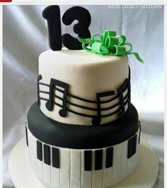 "It takes a lot of effort to master fondant, but this cake is done very well. We love how it is simple and still fun. Via ""A Chocolarteira: Bolos, Doces e Choclates"" Not anywhere local, that's for sure! #piano #cake #party"