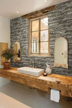 Wooden vanity and other rustic bathroom ideas - bathrooms - . - Wooden vanity and other rustic bathroom ideas – baths – # Baths ideas - Rustic Bathroom Designs, Rustic Bathroom Decor, Rustic Bathrooms, Rustic Decor, Wood Bathroom, Wood Sink, Small Bathroom, Rustic Design, Bathroom Lighting