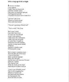 Virgin sex poem