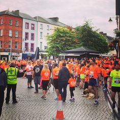 Sea of orange in John Roberts Square warming up for Run For Life 2015