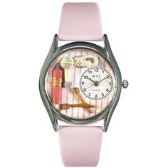 Whimsical Watches Beautician Female Pink Leather Watch (3.630 RUB) ❤ liked on Polyvore featuring jewelry, watches, whimsical watches, handcrafted jewelry, leather wrist watch, pink leather watches and pink jewelry