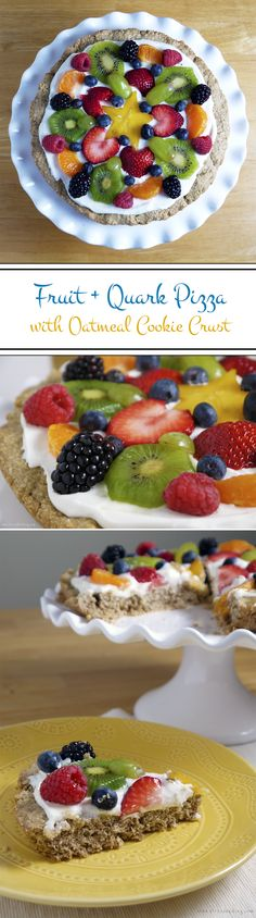 """Stress Baking   Fruit + Quark Pizza with Oatmeal Cookie Crust: The kind of cold pizza you can eat for breakfast and not feel bad about! A hearty oatmeal cookie """"crust"""" (made in a skillet!), Elli Quark """"sauce"""" and fruit toppings drizzled with honey. Don't know what quark is? Then you need to check out this post and find out why you should be eating it RIGHT NOW. #getyourquarkon #eatclean @elliquark"""