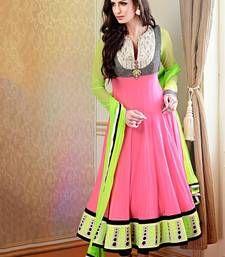Buy Pink embroidered georgette semi stitched salwar with dupatta anarkali-salwar-kameez online
