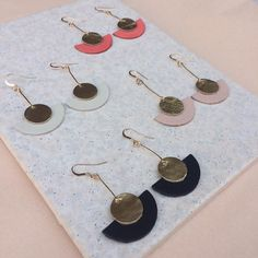 Coral and gold leather earrings