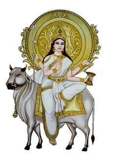 Goddess Mahagauri is the of the 9 forms of Goddess Durga and is worshipped on the night of Navratri. For personalized Navratri rituals. Divine Mother, Mother Goddess, Ancient Goddesses, Gods And Goddesses, 8th Day Of Navratri, Mata Rani, Kali Ma, Hindu Rituals, Fair Complexion