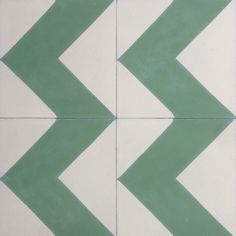 Colours used: 03-14This handsome line of Cement Tiles from Terrazzo Tiles are handmade in Morocco using hydraulic presses in a traditional method. We have a large collection of molds, including Floral patterns, Geometric and 3D Cubes, as well as Moorish and Victorian designs. These are a gorgeous Chevron in green and off white.