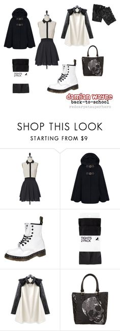 """""""Damian Wayne (Assassin)"""" by redcarpetsuperhero ❤ liked on Polyvore featuring Dr. Martens, H&M, Loungefly, black and white, combat boots, robin, damian wayne, superhero, school and dc"""