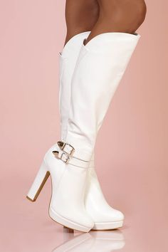 Bottes blanche bout rond similli cuir - INFINIE PASSION