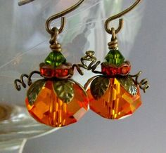 Pumpkin Earrings, Fall Jewelry, Halloween Earrings, Orange Earrings. $19.00, via Etsy.
