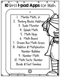This FREE PRINTABLE list features the top ten math apps for kindergarten through second grade. This is the perfect parent handout to get parents involved in their children's education! E Learning, Blended Learning, Math Skills, Math Lessons, Math Tips, Math Strategies, Best Math Apps, Free Math Apps, Math Websites