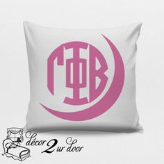 Gamma Phi Beta Sorority Pillow. Select your fabric and letter colors to match you room. Perfect for Sorority Bid Day gift, Sorority initiation, sorority big/little gift, sorority rush gift.