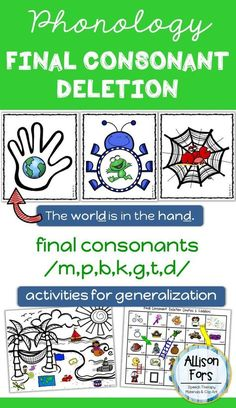 Final Consonant Deletion Phonology for Speech Therapy Articulation Therapy, Articulation Activities, Speech Therapy Activities, Speech Language Pathology, Speech And Language, Interactive Activities, Phonological Processes, Phonological Awareness, Final Consonant Deletion