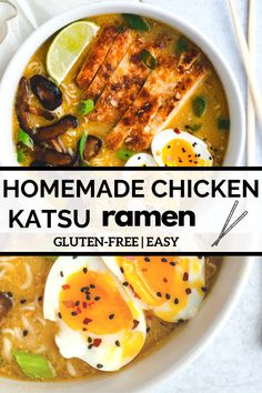 This easy, gluten-free homemade ramen has a delicious coconut milk and vegetable broth base and is topped with soy-glazed shiitake mushrooms, katsu fried chicken and a perfect soft-boiled egg. Spicy Ramen Recipe, Ramen Recipes, Healthy Soup Recipes, Asian Recipes, Oriental Recipes, Spicy Soup, Chicken Recipes, Healthy Food, Country