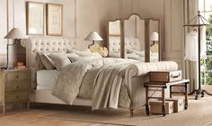 restoration hardware I love this bed, with mirrored side tables and a armoire. This room is light and airy