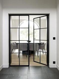 What I would give to have these style of doors btwn living & dining room Steel Doors And Windows, Inside Doors, Wrought Iron Doors, Room Doors, Internal Doors, Glass Door, Home Deco, Home Interior Design, New Homes