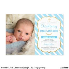 Shop Blue and Gold Christening Baptism Baby Boy Photo Invitation created by LollipopParty. Personalize it with photos & text or purchase as is! Christening Invitations Boy, Baby Boy Invitations, Baby Boy Christening, Photo Invitations, Invitation Ideas, Baptismal Giveaways, Baptism Photos, Carton Invitation, Baby Boy Photos
