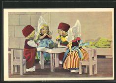 tolle AK vier Puppen am Mittagstisch in holländischer Tracht   eBay
