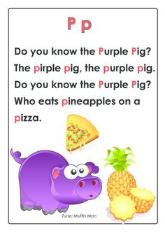 Before your child can write they need to learn their letters and the sounds that the letters make. Rhymes and songs are Preschool Poems, Kindergarten Songs, Preschool Letters, Preschool Learning, Prek Literacy, Learning Activities, Letter P Crafts, Letter P Activities, Alphabet Crafts